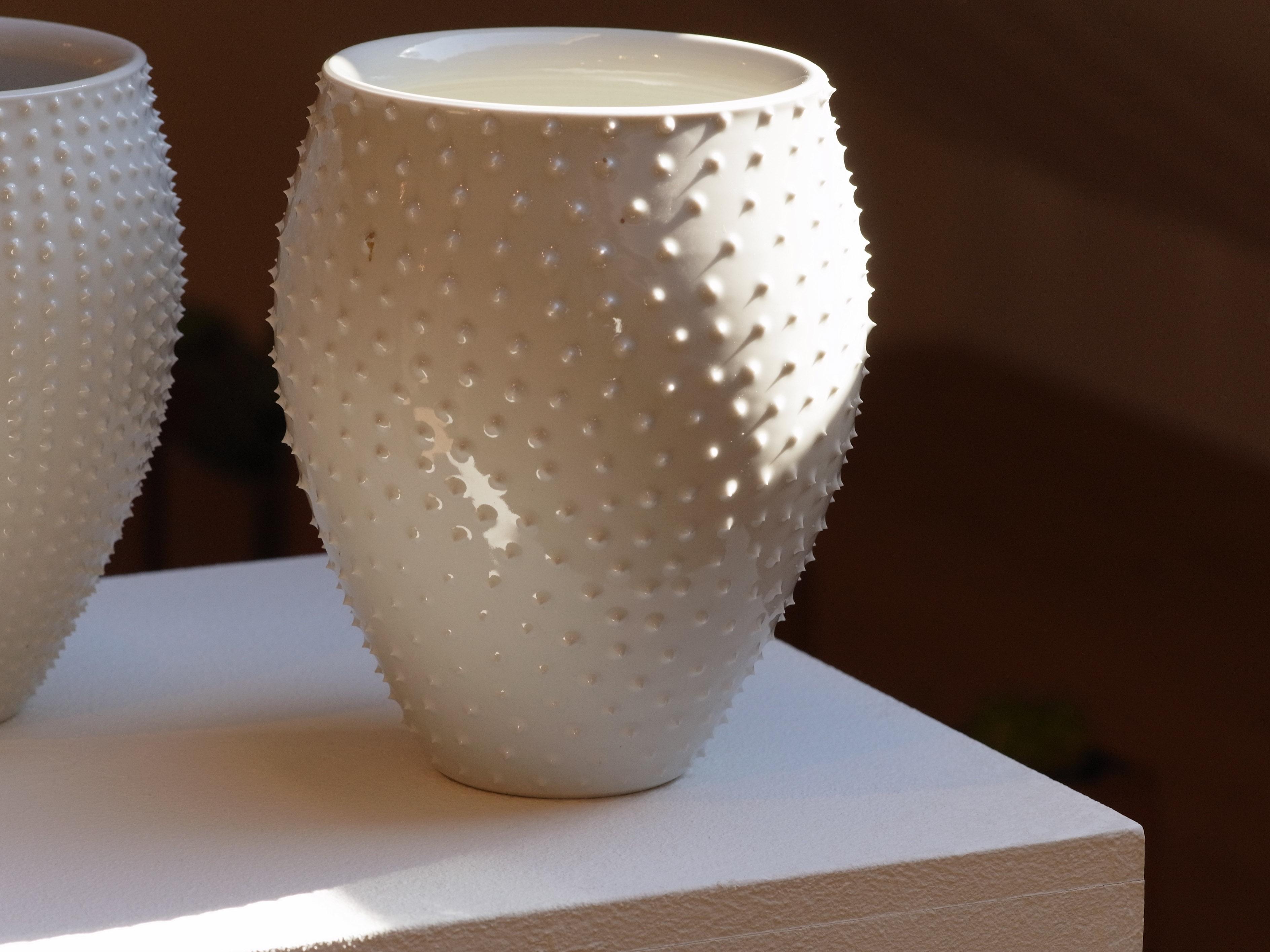 Anna Lüdi Keramik Vase mit Spitzen