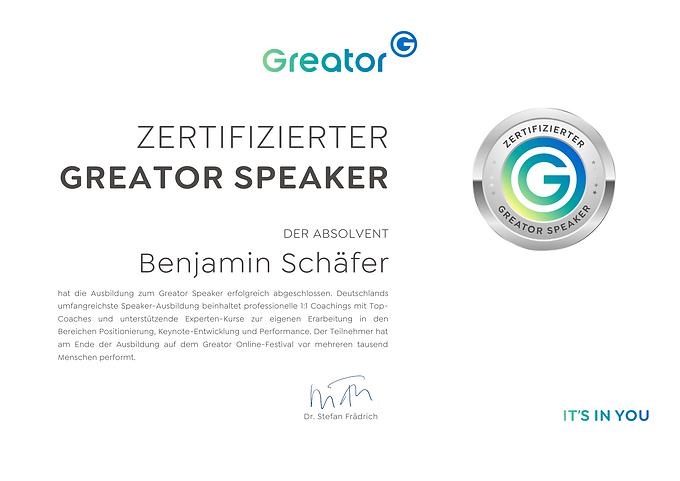 Greator Speaker Zertifikat Benjamin Schä