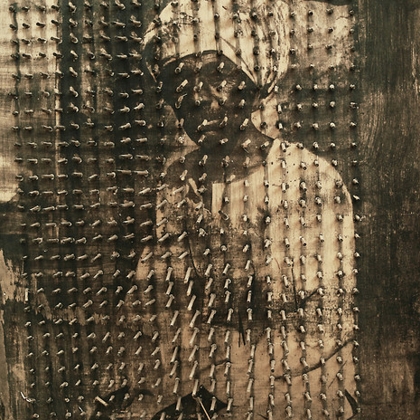 1998 - Fakír 60x50 cm - ezüst zselatin réteg, fa tábla, pácikák