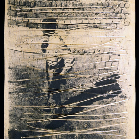 1998 - Árnyékok 60x50cm - ezüst zselatin réteg, térben meghajlított fapálcák