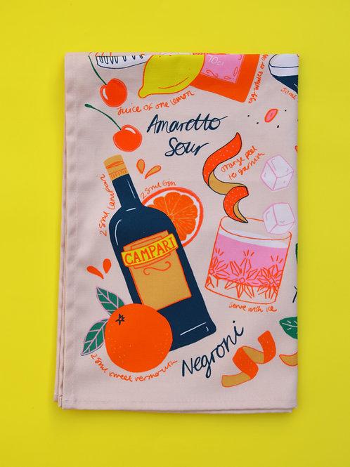 Pink Cocktail Tea Towel
