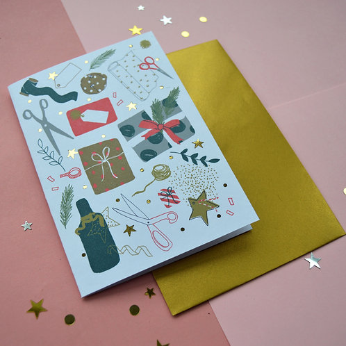 Christmas Wrapping A6 card.