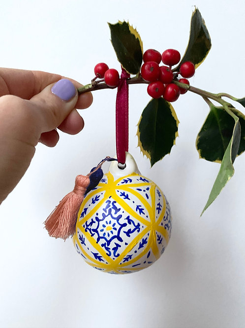 Lisbon Hand Painted Ceramic Bauble