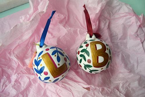 Botanical alphabet letter hand painted ceramic bauble