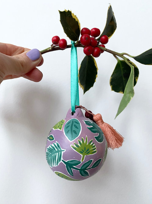 Jungle leaves Hand Painted Ceramic Bauble