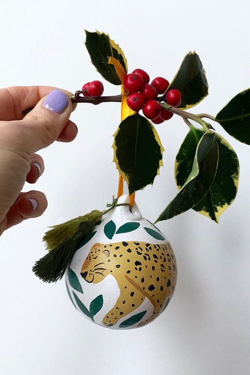 Leopard in the Jungle Hand Painted Ceramic Bauble