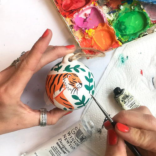 Tiger in the Jungle Hand Painted Ceramic Bauble