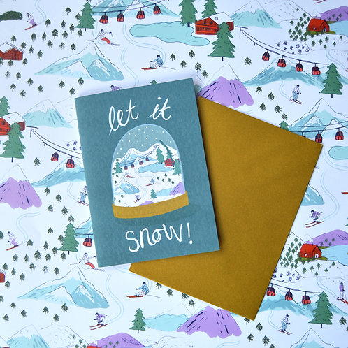 Let it Snow! - Christmas Snowglobe A6 card