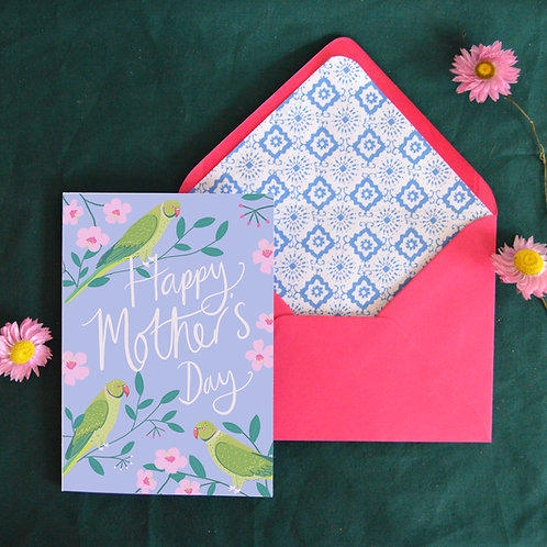 Parakeets Mothers Day card