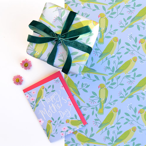 Spring Parakeets Wrapping Paper
