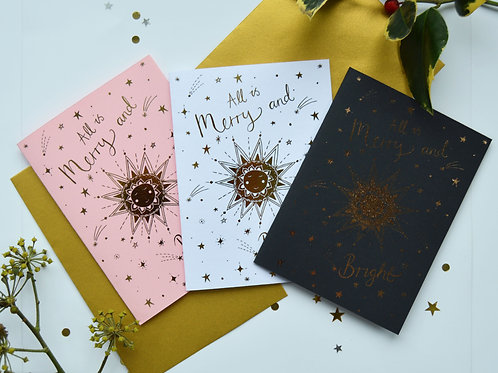 Merry and Bright Metallic Gold Foil A6 Christmas card.