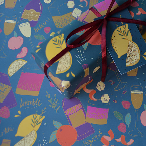 Cocktail Party Christmas Wrapping Paper