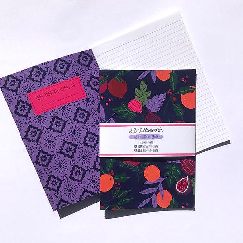 Botanical Fruits A5 Patterned softback notebooks