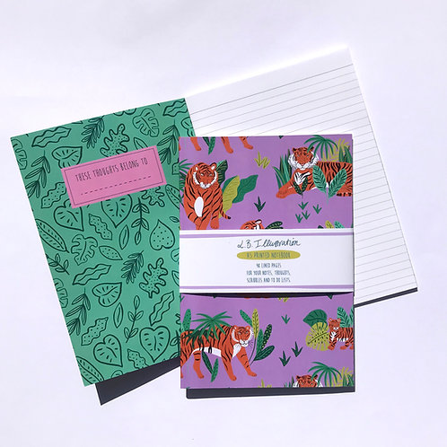Tigers A5 Patterned notebook