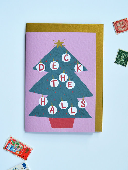 'Deck the Halls' - Christmas Tree A6 Christmas card