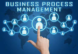 Business Process Management concept with hand pressing social icons on blue world map back