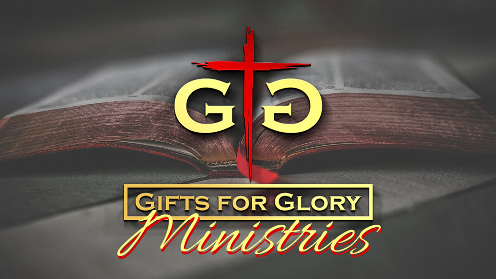 Gifts for Glory Ministries Logo over Bible