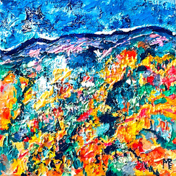 Utah mountain square painting on canvas