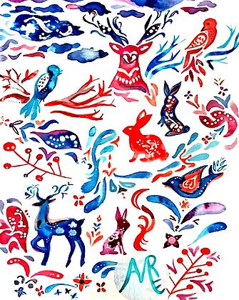 Woodland Creatures Folk Print