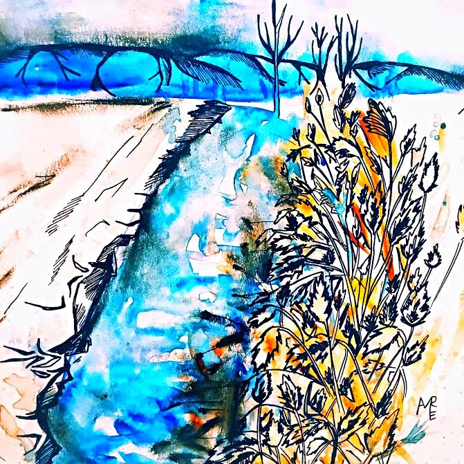 Winter-River-Utah-Watercolor-painting
