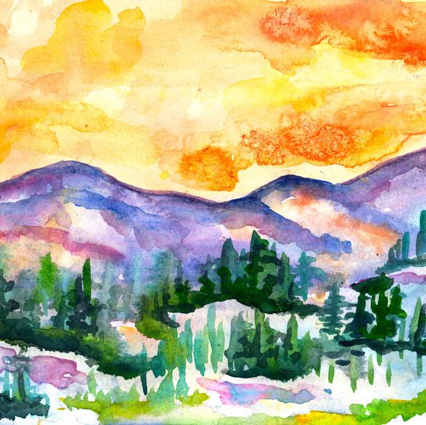 Hill Sunset en Plein Air