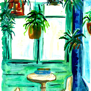 Spanish Cafe with Hanging Plants