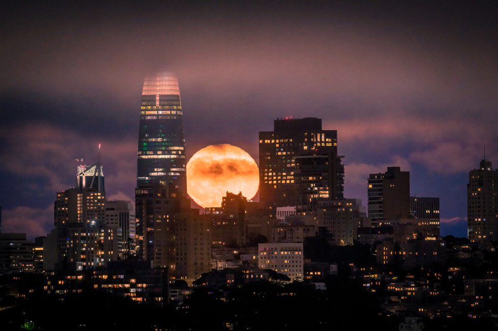 Full Moon Rising Over the City