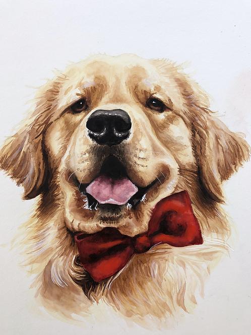 Custom 12x36 4 golden pet portrait