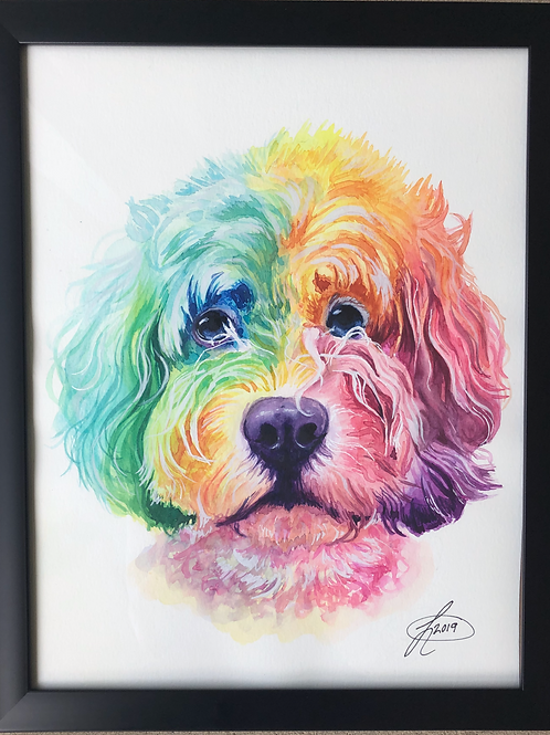 11x14 Framed Colorful Watercolor Pet Portrait