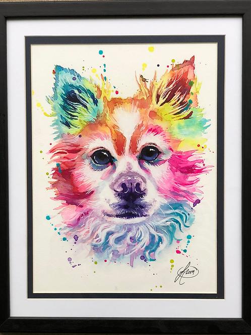 9x12 Framed and Double Matte Colorful Watercolor Pet Portrait
