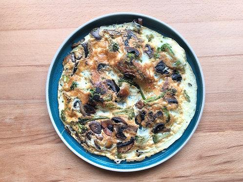 Омлет с брокколи и грибами