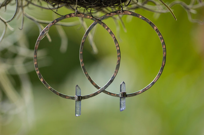 Tanzan Aura Sterling Silver Hammered Hoops
