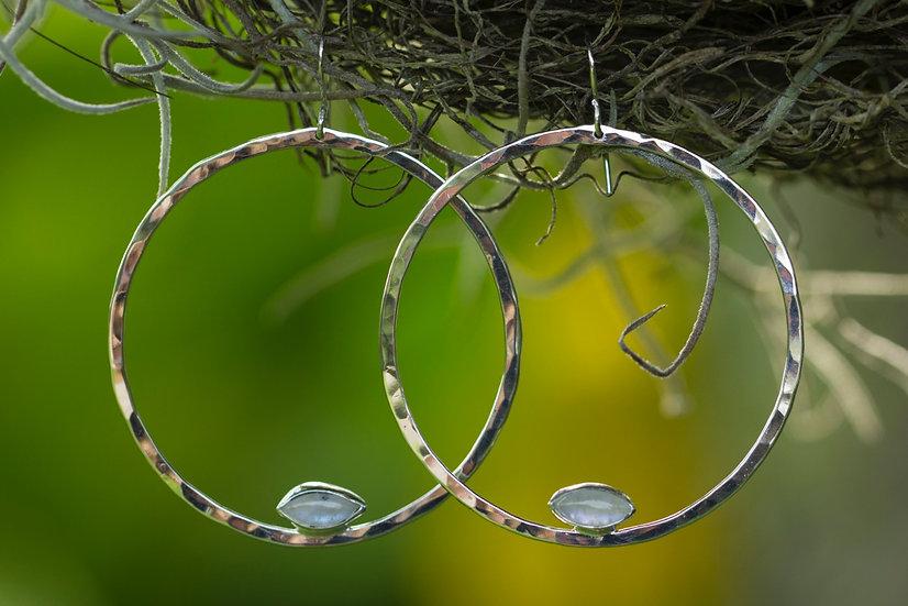 Moonstone Sterling silver hammered hoops