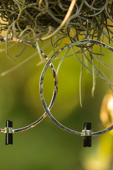Black Tourmaline Sterling Silver Hammered Hoops