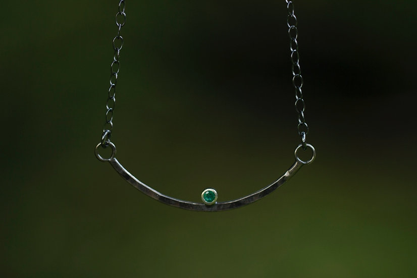 Oxidized Sterling Silver Emerald Bar Necklace