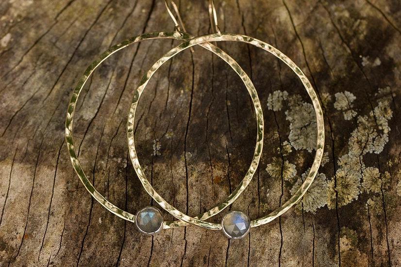 Rosecut Labradorite Gold Hoops