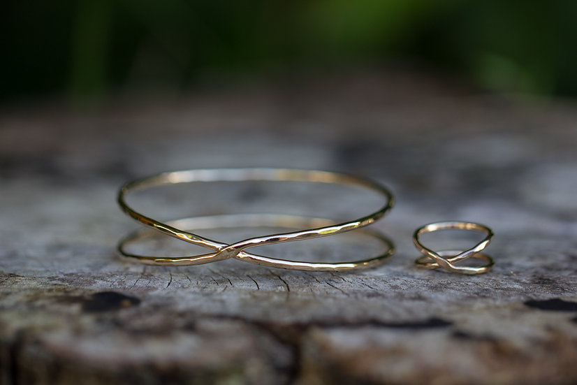 Gold X Bangle and Ring set RESERVED for TINA