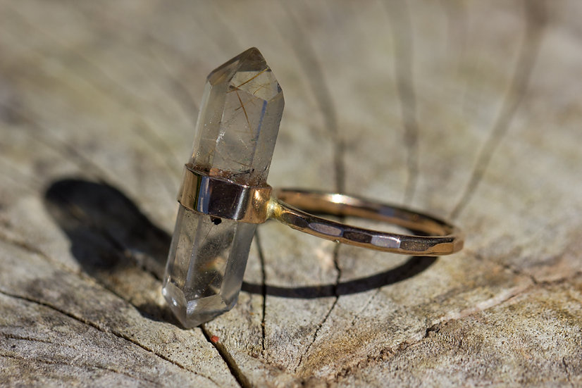 Rutilated Quartz Crystal Ring