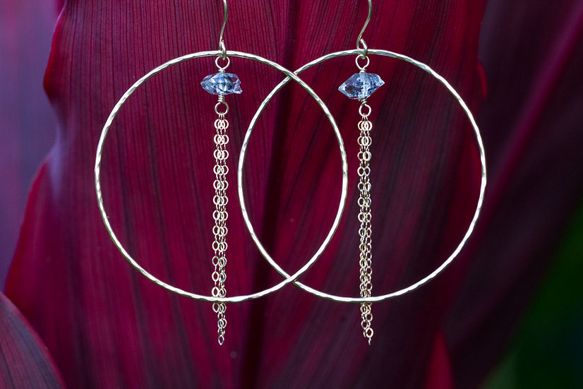 Herkimer Quartz Diamond Hoops