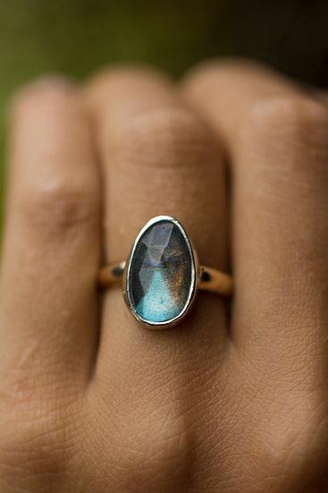 Rosecut Labradorite Mixed Metal Ring