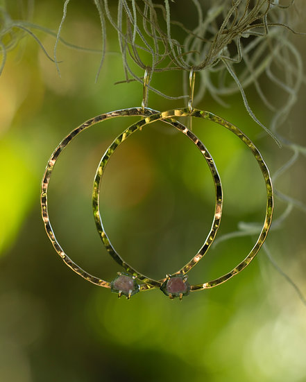 Watermelon Tourmaline Gold Hoops