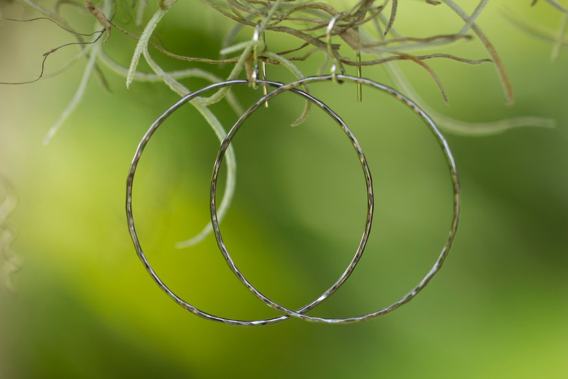 Oxidized Sterling Silver Hammered Hoops