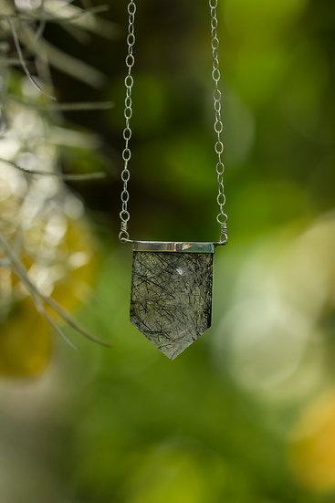 Tourmalinated Quartz Crystal Necklace