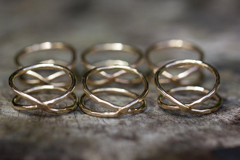 Gold X Ring
