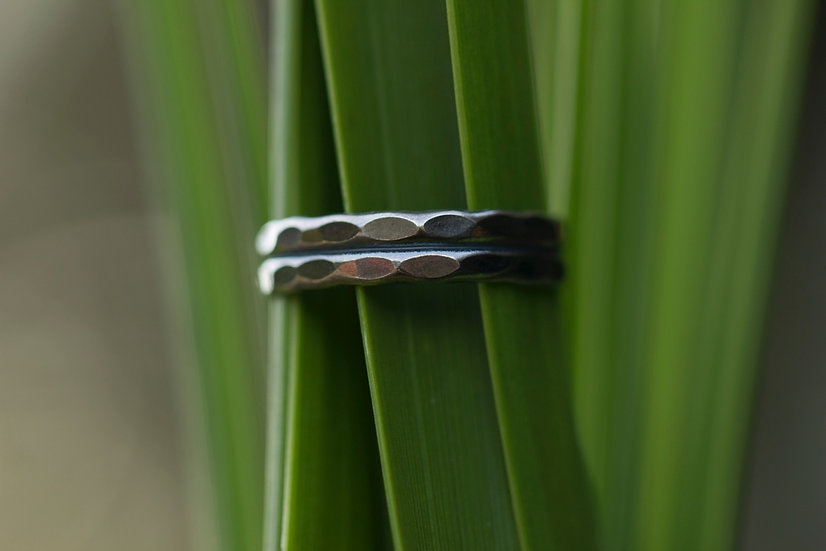Oxidized Hammered Ring Band