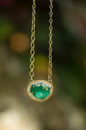 Broken Arrow Variscite Gold Necklace