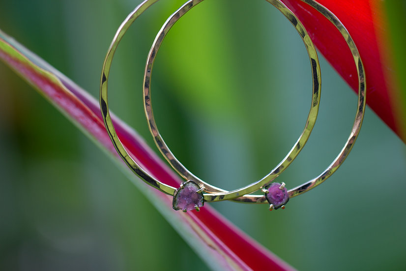 Watermelon Tourmaline Gold Hoops RESERVED FOR TINA