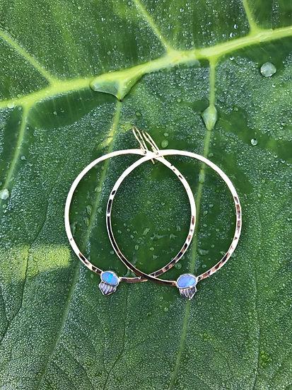 Opal Gold Hoops