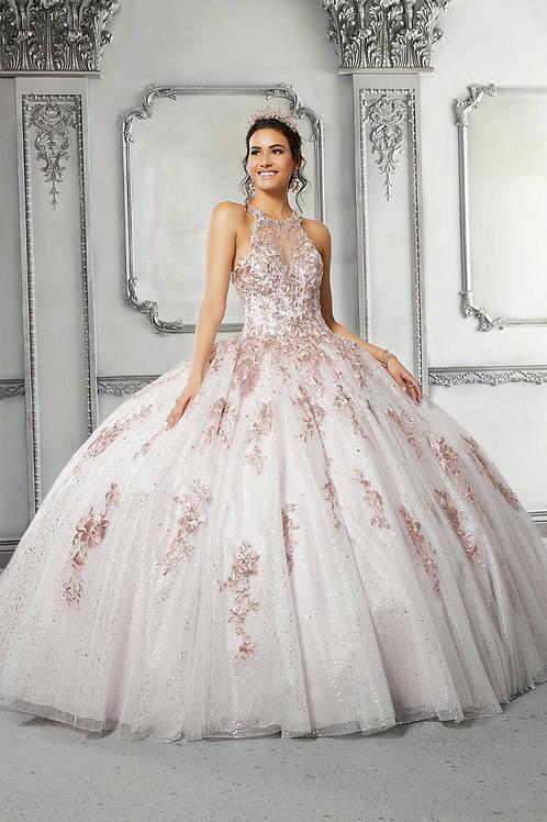 Morilee 89317 Contrasting Metallic Printed Tulle Quinceañera Dress