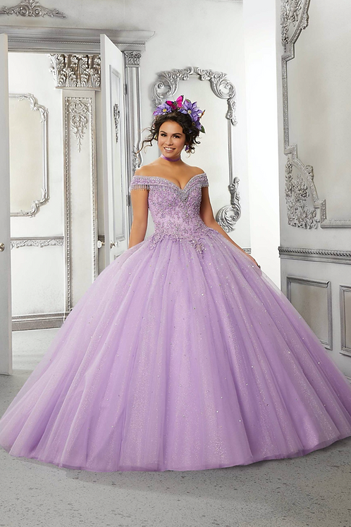 Morilee 60144 Beaded Fringe Glitter Tulle Quinceañera Dress